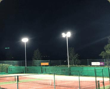 sports lighting - tennis court at night