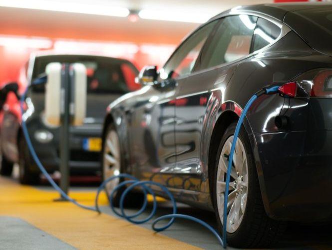 ev charging a car